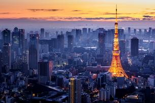 夜明け前の都心と東京タワーの写真素材 [FYI03401136]