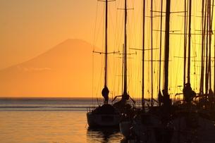 夕景の富士山とヨットの写真素材 [FYI03401486]