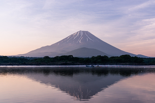 精進湖と富士山の写真素材 [FYI03401639]