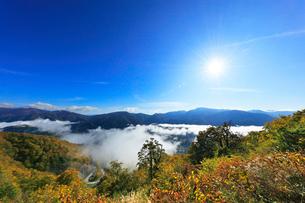 秋の白山白川郷ホワイトロードより雲海と空に太陽の写真素材 [FYI03401779]