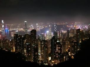 香港の夜景の写真素材 [FYI03402476]