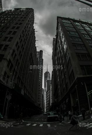 ウォール街から見るワンワールドトレードセンターの写真素材 [FYI03402685]