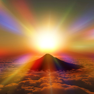 富士山の日の出のイラスト素材 [FYI03402815]