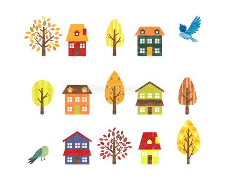 手描き水彩風 秋のイメージ 家と木と小鳥のイラスト素材 [FYI03402956]