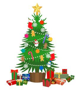クリスマスツリーとプレゼントの山 イラストのイラスト素材 [FYI03402961]