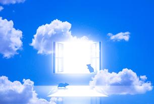 光が射し込む窓とネズミのイラスト素材 [FYI03402964]