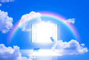 光が射し込む窓とネズミのイラスト素材 [FYI03402965]