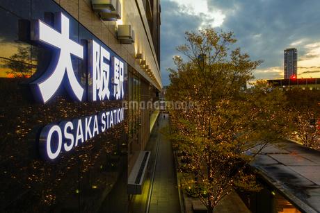 大阪駅前、梅北ひろばのライトアップの写真素材 [FYI03403008]