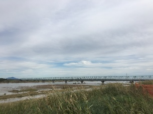 台風で増水した利根川に架かる橋の写真素材 [FYI03403358]