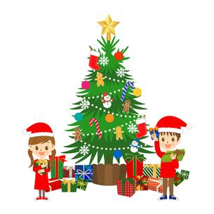 クリスマスプレゼントと子供たちのイラスト素材 [FYI03403517]