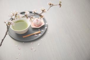 サクラの枝と抹茶と桜餅の写真素材 [FYI03404057]