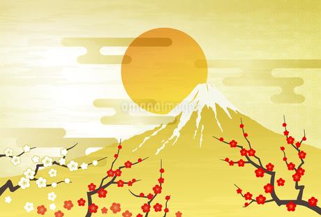 紅白の梅と富士山 初日の出のイラスト素材 [FYI03404209]
