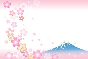 富士山と桜 ハガキ背景素材のイラスト素材 [FYI03404211]