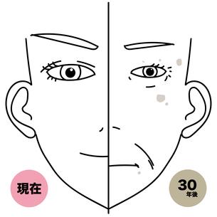 若い女性と老人女性の比較イラストのイラスト素材 [FYI03404693]
