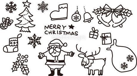 クリスマスモノクロイラストのイラスト素材 [FYI03404872]