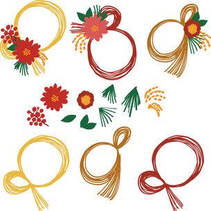 お正月飾り 花の枠 イラストセットの写真素材 [FYI03404879]