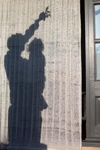 簾に映った、幼児を抱き上げて上の方を指差す大人の影の写真素材 [FYI03405888]