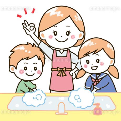 手洗いをする親子 イラストのイラスト素材 [FYI03406243]