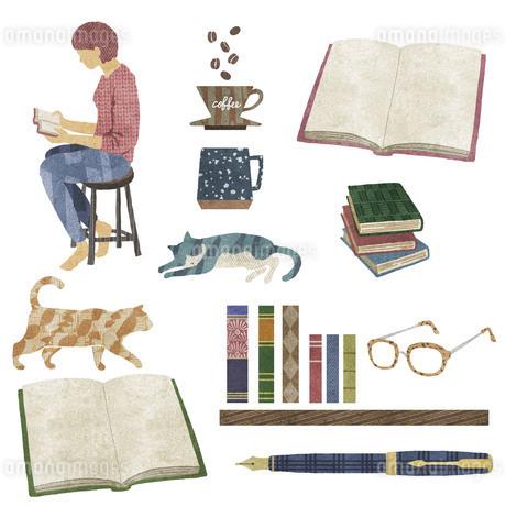 読書とコーヒーと猫の素材セットの写真素材 [FYI03406307]