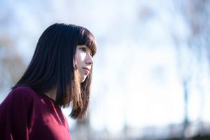 自然の中で佇む女性の横顔の写真素材 [FYI03406639]