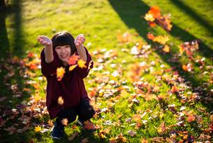 落ち葉を巻き上げる女性の写真素材 [FYI03406679]