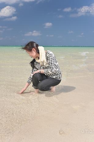 秋の浜辺の女性の写真素材 [FYI03406878]