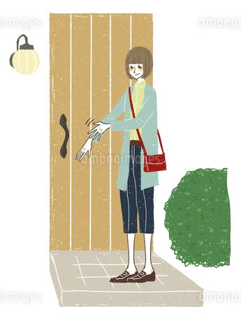 女性-玄関-衣服を掃うのイラスト素材 [FYI03408266]