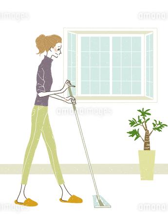 女性-掃除-ワイパーのイラスト素材 [FYI03408269]