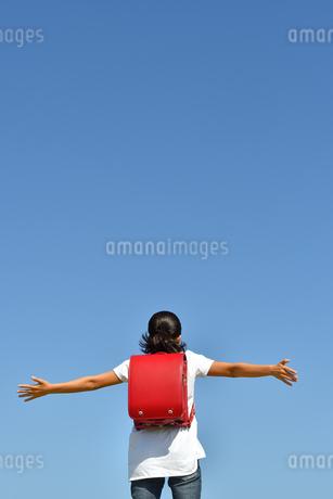 青空で両手を広げる小学生の女の子(後姿)の写真素材 [FYI03408458]