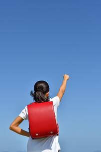 青空でガッツポーズをきめる小学生の女の子(後姿)の写真素材 [FYI03408463]