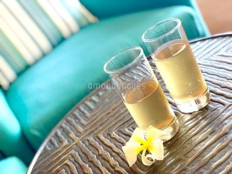 グラスと花の写真素材 [FYI03408678]
