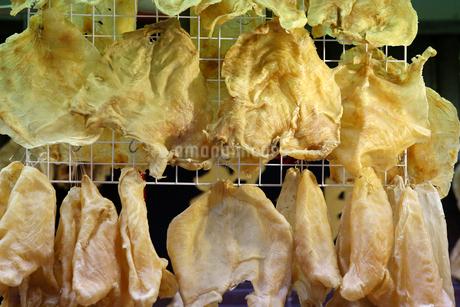 西營盤にある徳輔道西(デ・ヴー・ロード・ウェスト)の「海味街」で売られる高級中華食材の魚の浮袋「花膠」「魚胆」。乾貨とも呼ばれるの写真素材 [FYI03408770]