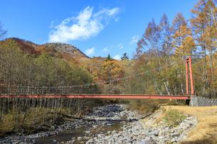 西ノ湖ハイキングコースの赤い橋の写真素材 [FYI03408772]