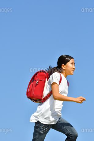 青空で走る小学生の女の子(ランドセル)の写真素材 [FYI03409104]