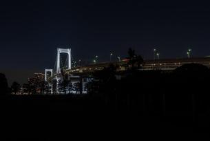 暗闇に浮かぶレインボーブリッジの写真素材 [FYI03409514]