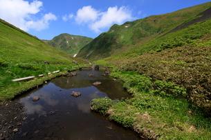谷間の沼より望む男岳の写真素材 [FYI03410071]