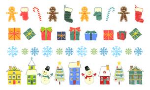 手描き水彩風 クリスマス罫線セットのイラスト素材 [FYI03410191]