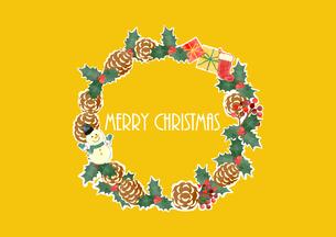 手描き水彩風 クリスマスリース 02のイラスト素材 [FYI03411177]