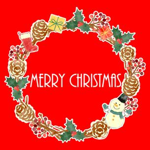 手描き水彩風 クリスマスリース 01のイラスト素材 [FYI03411178]
