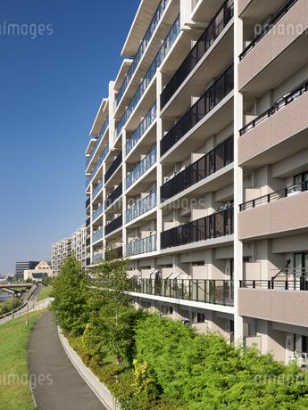 住宅街の大型マンションの写真素材 [FYI03411227]