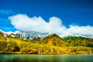 上高地大正池より紅葉と初雪の山肌の写真素材 [FYI03411348]