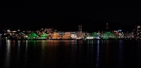 夜の琵琶湖の噴水の写真素材 [FYI03411471]