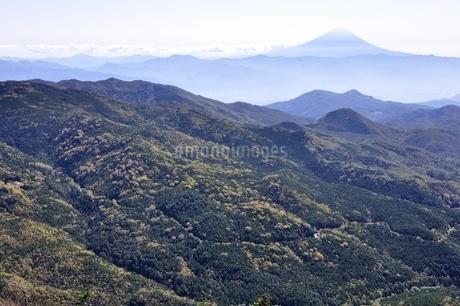 秋の奥秩父と富士山の写真素材 [FYI03411736]