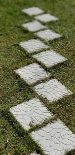 芝の庭の敷石の写真素材 [FYI03412128]