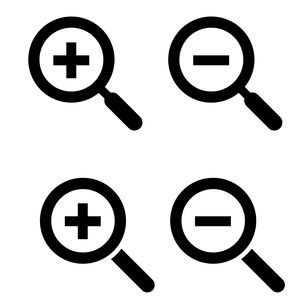 虫眼鏡アイコンセット ズームイン、ズームアウトのイラスト素材 [FYI03412143]