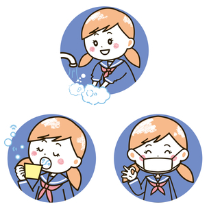 女の子の手洗い、うがい、マスク イラストのイラスト素材 [FYI03412194]
