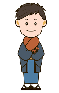 マフラー着用 着物姿の男性 イラストのイラスト素材 [FYI03412199]