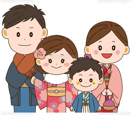 着物姿の家族 イラストのイラスト素材 [FYI03412201]