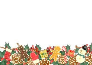 手描き水彩風 クリスマス フレーム06のイラスト素材 [FYI03412396]
