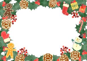 手描き水彩風 クリスマス フレーム05のイラスト素材 [FYI03412397]